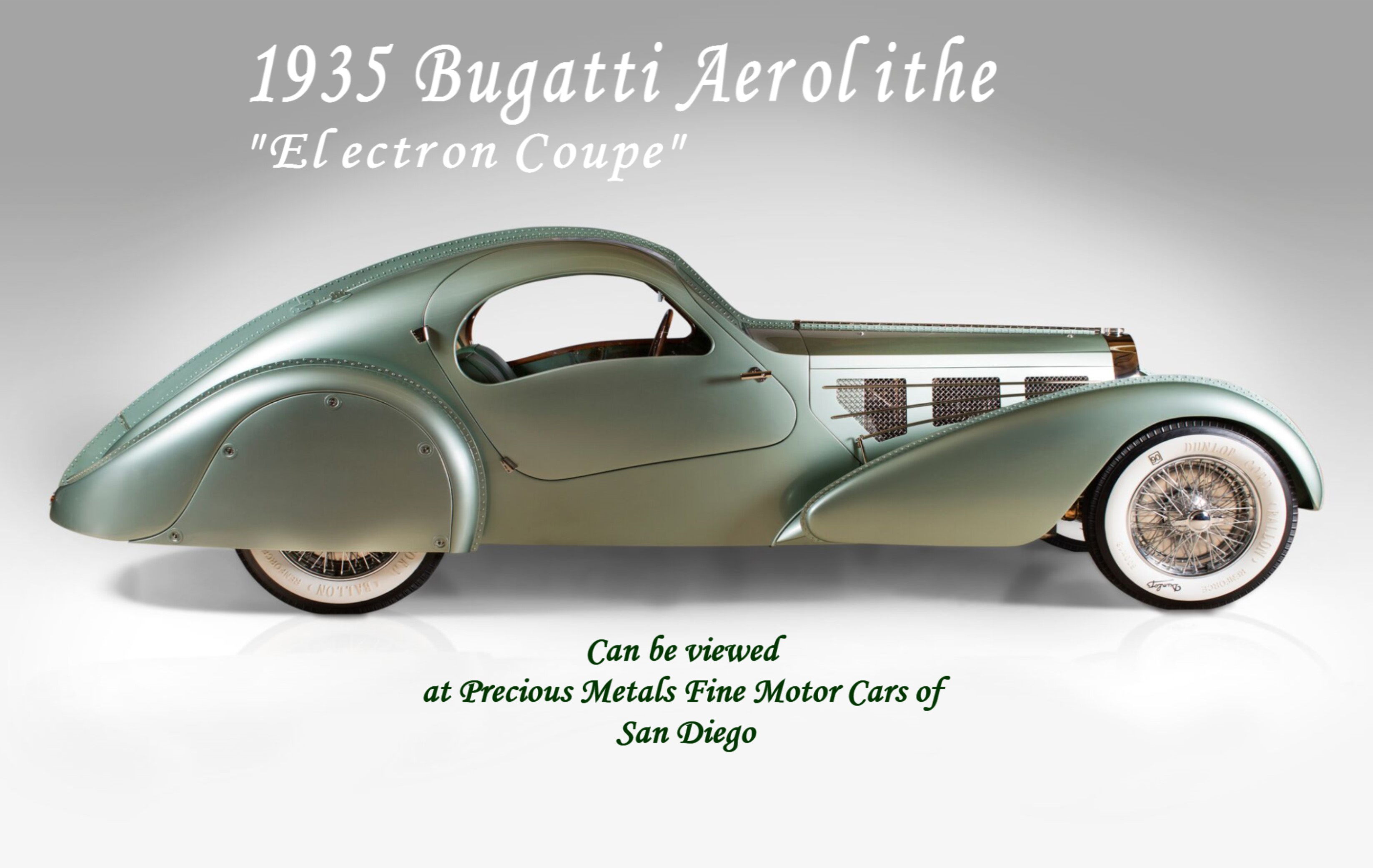 1935 Bugatti Aerolithe Electron Coupe Proudly Offered by Precious Metals Fine Motor Cars of San Diego