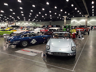 Precious Metals Display at the LA Classic Auto Show with 1967 Ferrari GTC and 1966 Lamborghini 400 2+2